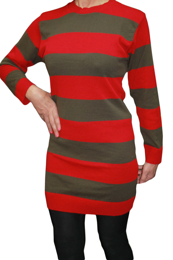Ladies Red & Green Striped Fancy Dress Freddy Krueger Jumper
