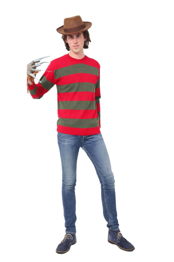 Red & green adults striped scary Halloween fancy dress set & accessories - Jumper - Claw - Hat main pic