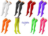 Ladies block colour plain over the knee / thigh high cotton rich socks