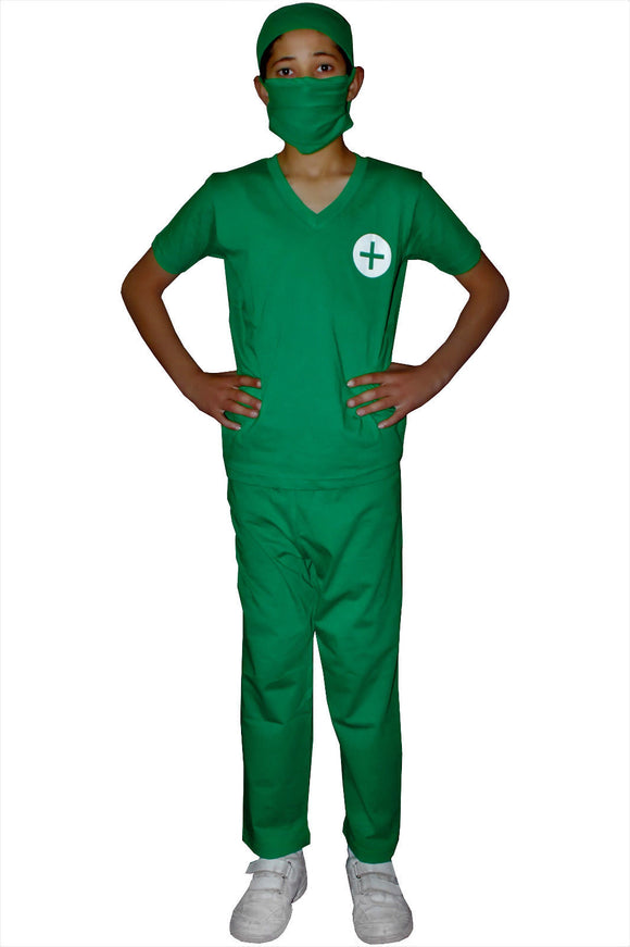 Children's green medical doctors fancy dress party set