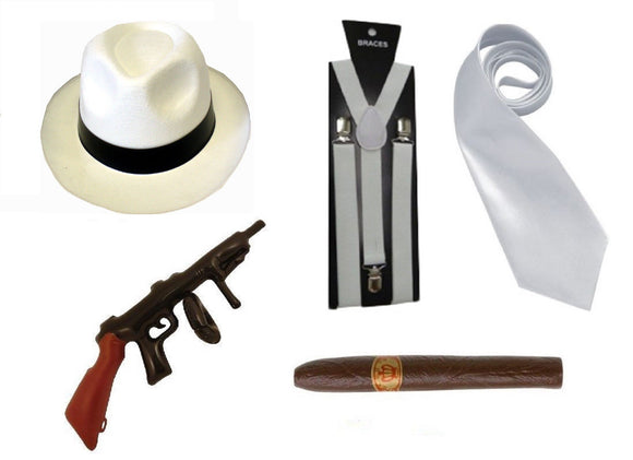 5 piece fancy dress white 1920's gangster party set