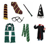 Maroon and yellow & green and white fancy dress wizard book week set & accessories