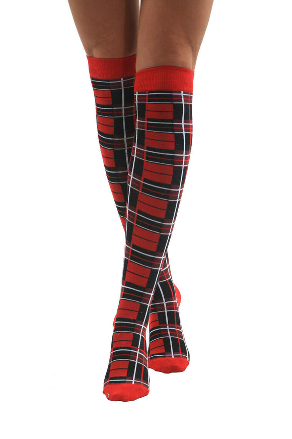 Over the knee / thigh high red tartan Scottish socks