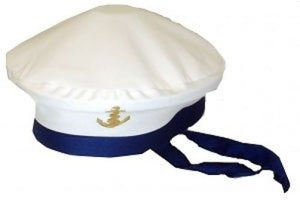 Fancy dress white and blue sailor hat