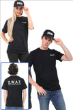 Adults fancy dress black SWAT t-shirt