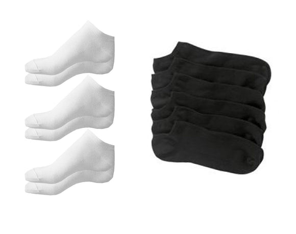 Size 6-11 Black or White Cotton / Lycra Trainer Ankle Socks