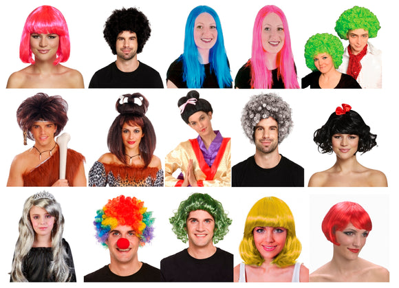 Assorted fancy dress costume party wigs