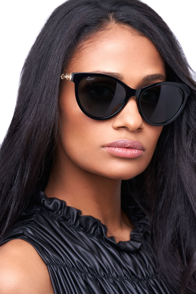 Privado Bubo black sunglasses on female model