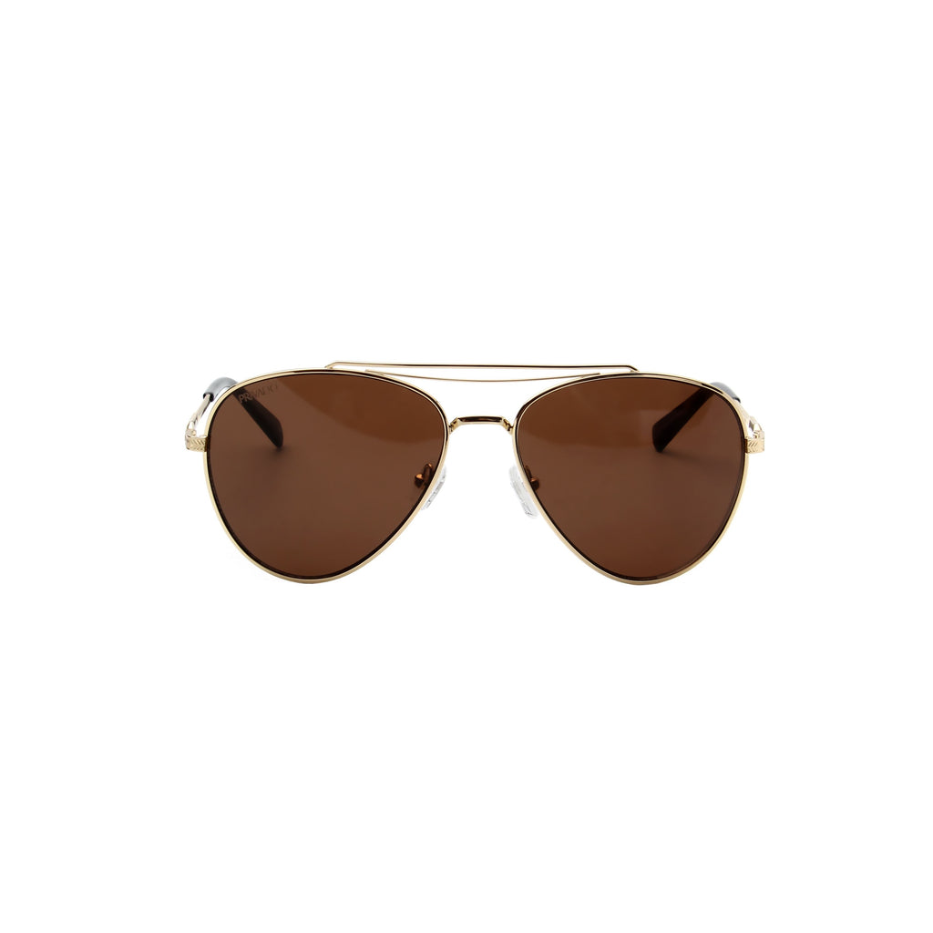 Privado Palau gold aviator sunglasses,metal frame,brown nylon lens,UV400 protected with anti-reflective coating