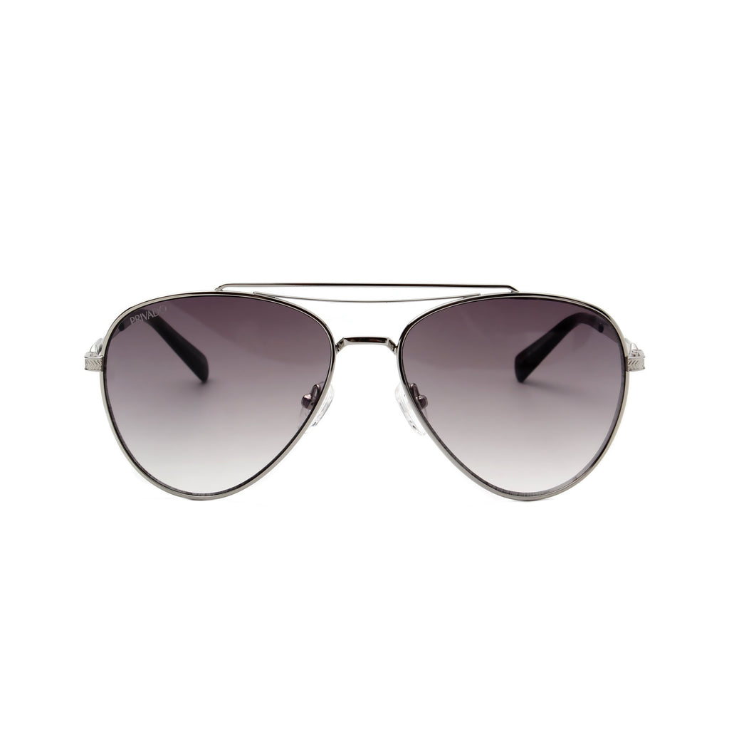 Privado Palau silver aviator sunglasses,metal frame,grey gradient nylon lens,UV400 protected with anti-reflective coating