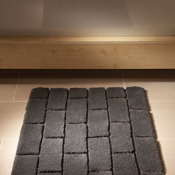 Bamboo Brick Graphite Bath Rug