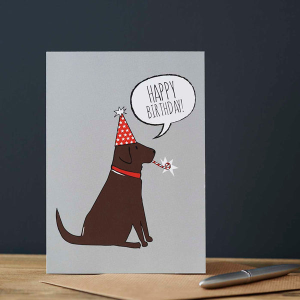 Chocolate Labrador Birthday Card