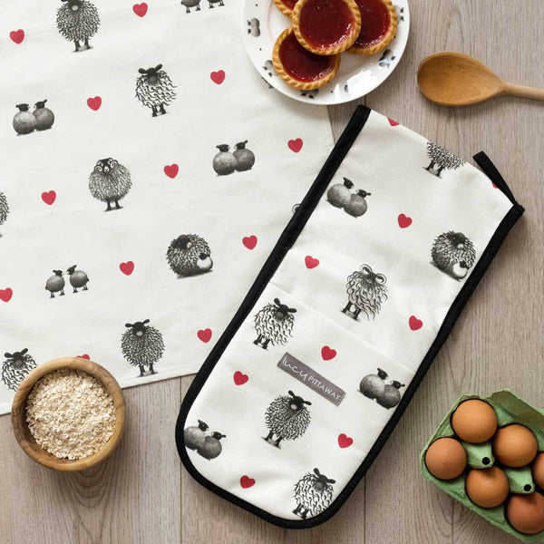 Black & White Sheep Oven Glove by Lucy Pittaway