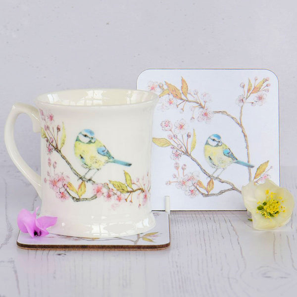 Blue Tit on Blossom White Coaster