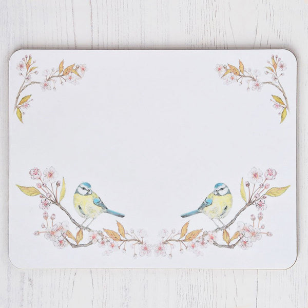 Blue Tit on Blossom White Placemat