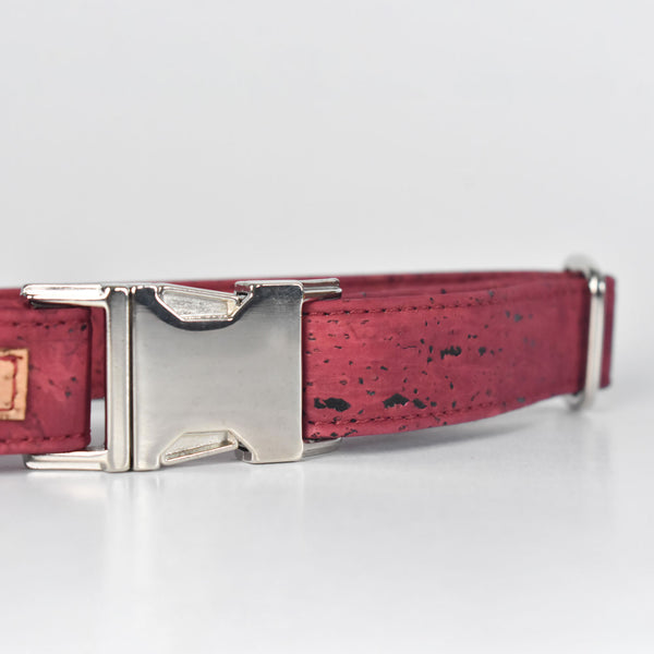 Burgundy Cork Dog Collar