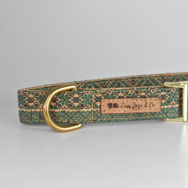 Green Aztec Cork Dog Collar