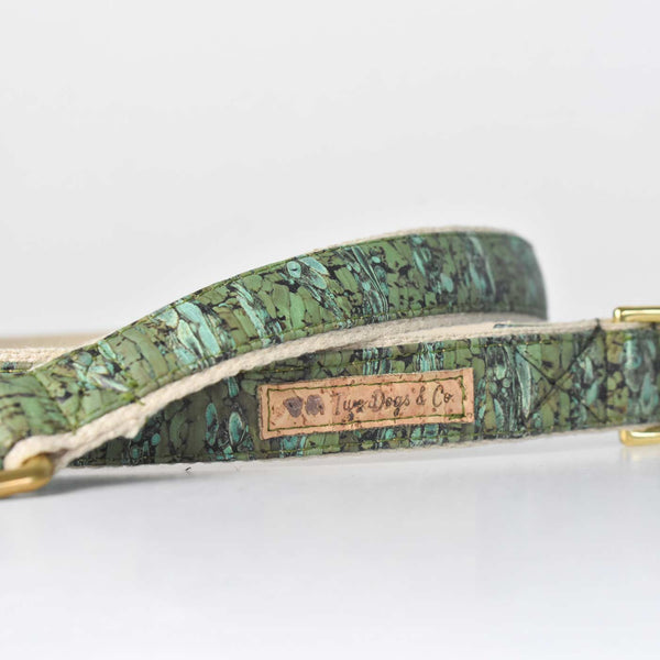 Green Marble Cork and Hemp Dog Lead