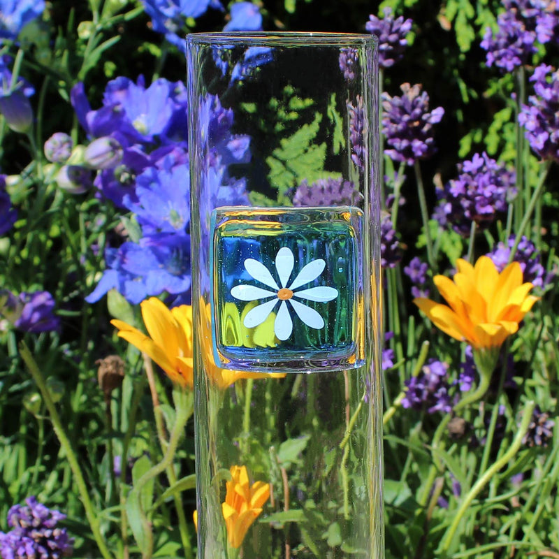 Daisy Tall Glass Turquoise Vase Gifts