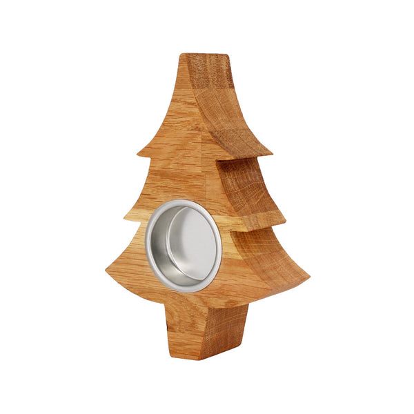 Solid Oak Christmas Tree Tea Light