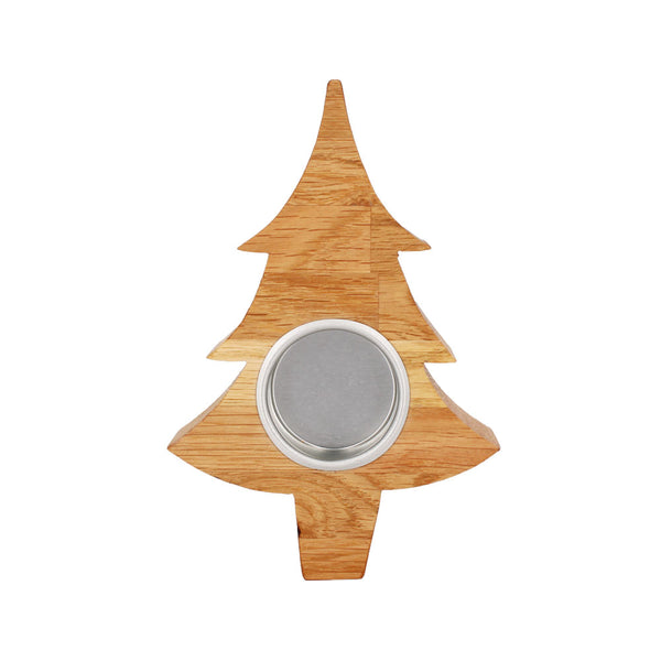 Solid Oak Christmas Tree Tea Light by Handcrafted by Ally