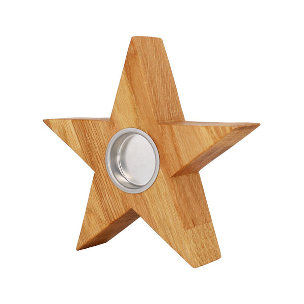 Solid Oak Star Tea Light
