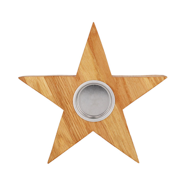 Solid Oak Star Tea Light by Handcrafted by Ally