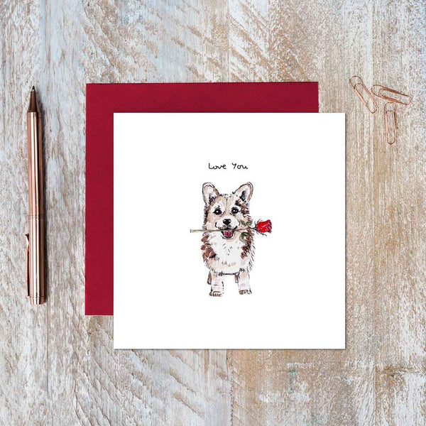 Love You Corgi Rose Card