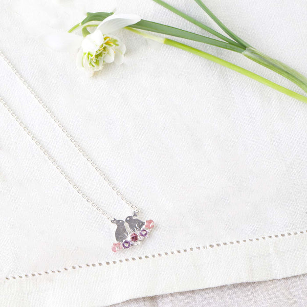 Kissing Bunnies and Flowers Necklace Jewellery