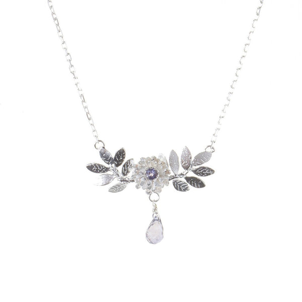 Dahlia & Leaf Necklace