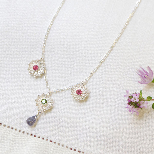 Dahlia 3 Flower Necklace