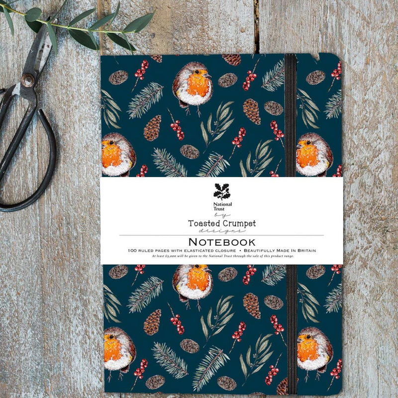 Winter Robin A5 Lined Notebook
