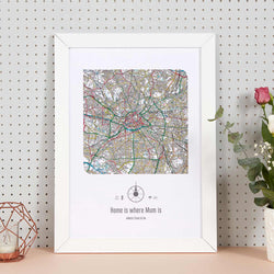 Personalised Postcode Map Framed