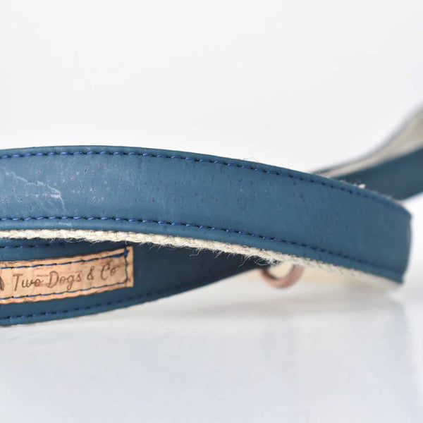 Petrol Blue Cork and Hemp Dog Lead