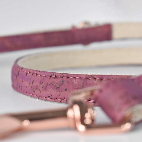 Purple Cork and Hemp Dog Lead