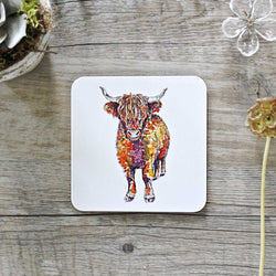 Highland Cow Coaster by Toasted Crumpet