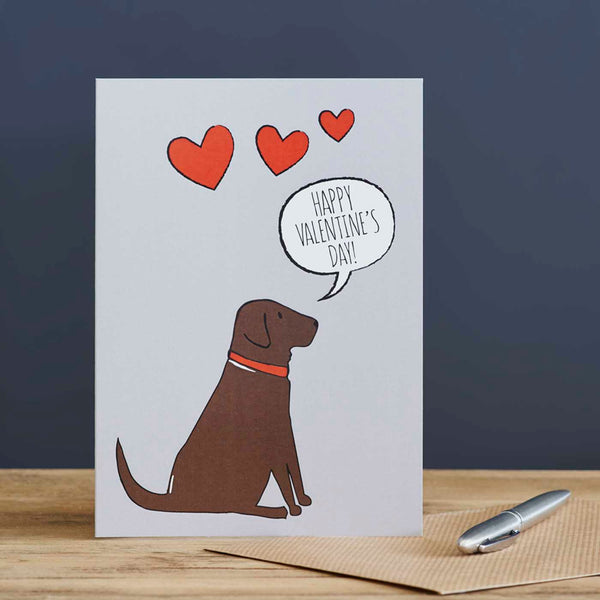Chocolate Labrador Valentine's Day Card