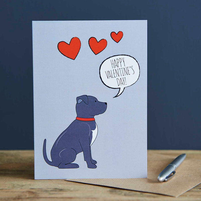 Staffie Valentine's Day Card