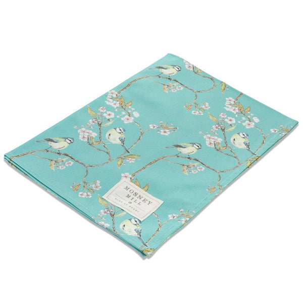 Blue Tit on Blossom Tea Towel - Turquoise