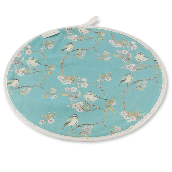 Blue Tit on Blossom Hob Cover - Turquoise