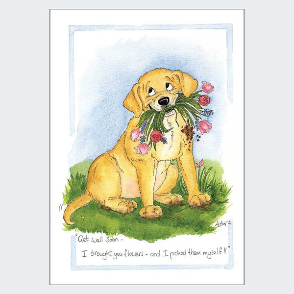 I Brought You Flowers Get Well Soon Card