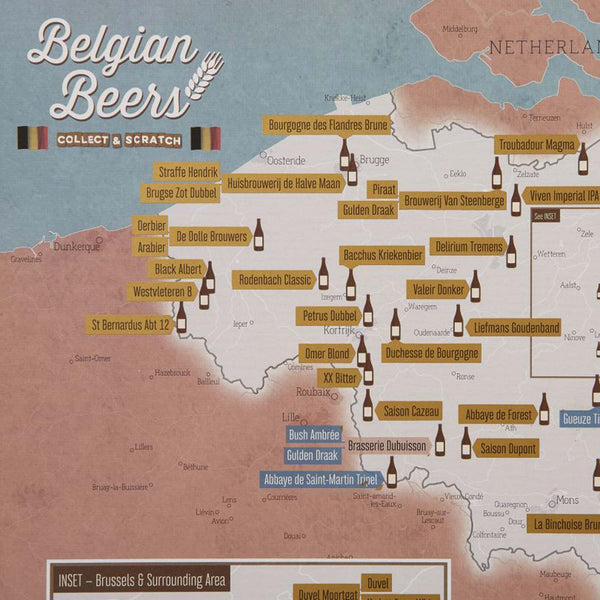 Belgian Beers Collect & Scratch Map
