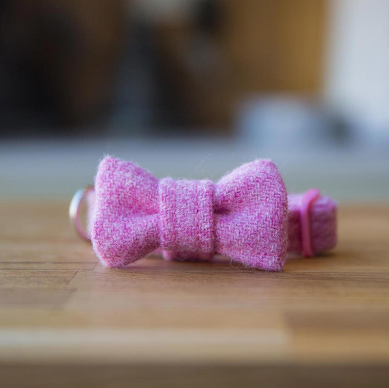 Baby Pink Harris Tweed Dog Collar with BowTie