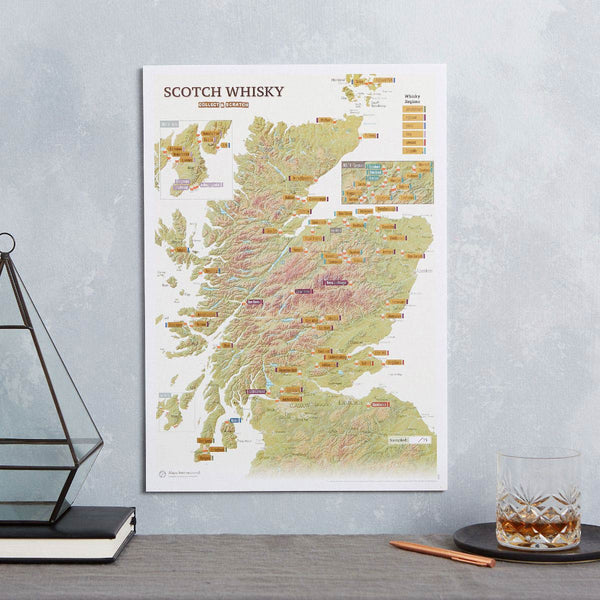 Scottish Whisky Distilleries Collect & Scratch Map