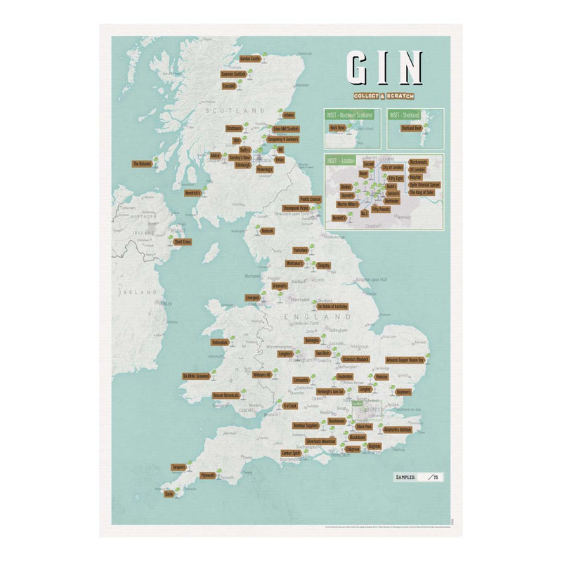 Gin Distilleries Collect & Scratch Map