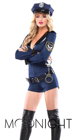 Sexy Police Officer Zipper Jumpsuit Erotic Lingerie Sex Toys Women Adult Cosplay Uniform Policewomen Costumes Outfit