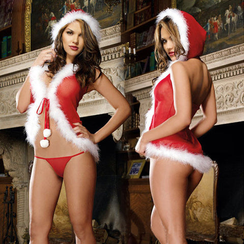 Charm Christmas Underwear Women Sexy Lingerie Red Babydoll Dress Sleepwear