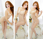 Fishnet Bodystocking Babydoll Lingerie Chemise Sleeveless Nightwear