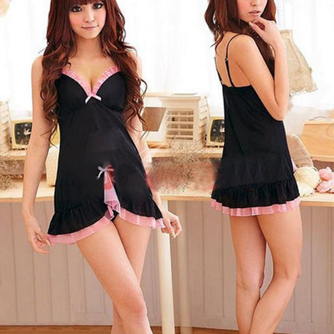 Women Sexy Babydoll Chemise Dress Lingerie Racy Sleepwear Dress + Thong
