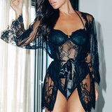 Women Lingerie Babydoll Sleepwear Underwear Lace Coat Nightwear + G-string